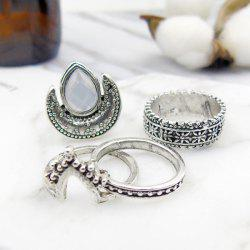 Faux Gem Moon Teardrop Gypsy Ring Set - SILVER