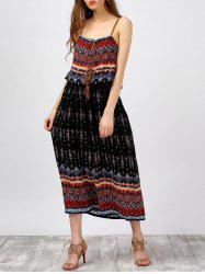 Criss Cross Bohemian Slip Print Summer Dress - BLACK