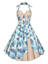 Backless Floral Vintage Dress