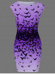 Bodycon Cap Sleeve Bird Print Mini Dress - PURPLE