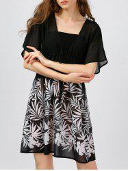 Leaf Printed Chiffon Sheer Short Dress -