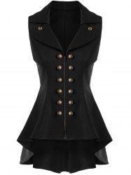 Double Breast High Low Lapel Dressy Waistcoat - BLACK