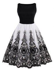 Embroidered Vintage Flare Dress - BLACK