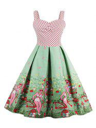 Scenic Print Polka Dot Vintage Dress