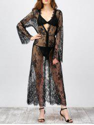 Long Sleeve Lace Sheer Kimono Cover-Ups - BLACK
