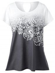 Plus Size Floral Ombre Tee - WHITE GREY XL