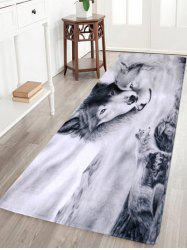 Wolf Animal Coral Fleece Home Floor Area Rug - GREY WHITE