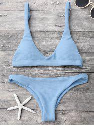 Padded Scoop Neck Bikini Set - LIGHT BLUE