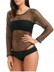 Long Sleeve Backless Fishnet Bodysuit Cover Up - BLACK S