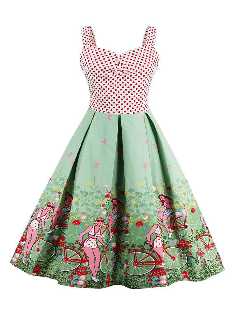 Affordable Scenic Print Polka Dot Vintage Dress