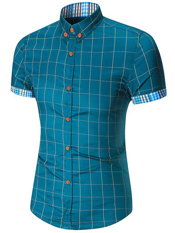 Button Down Short Sleeve Gingham Plaid ShirtMEN<br><br>Size: XL; Color: LAKE BLUE; Shirts Type: Casual Shirts; Material: Cotton,Polyester; Sleeve Length: Short; Collar: Turn-down Collar; Weight: 0.2000kg; Pattern Type: Plaid; Package Contents: 1 x Shirt;