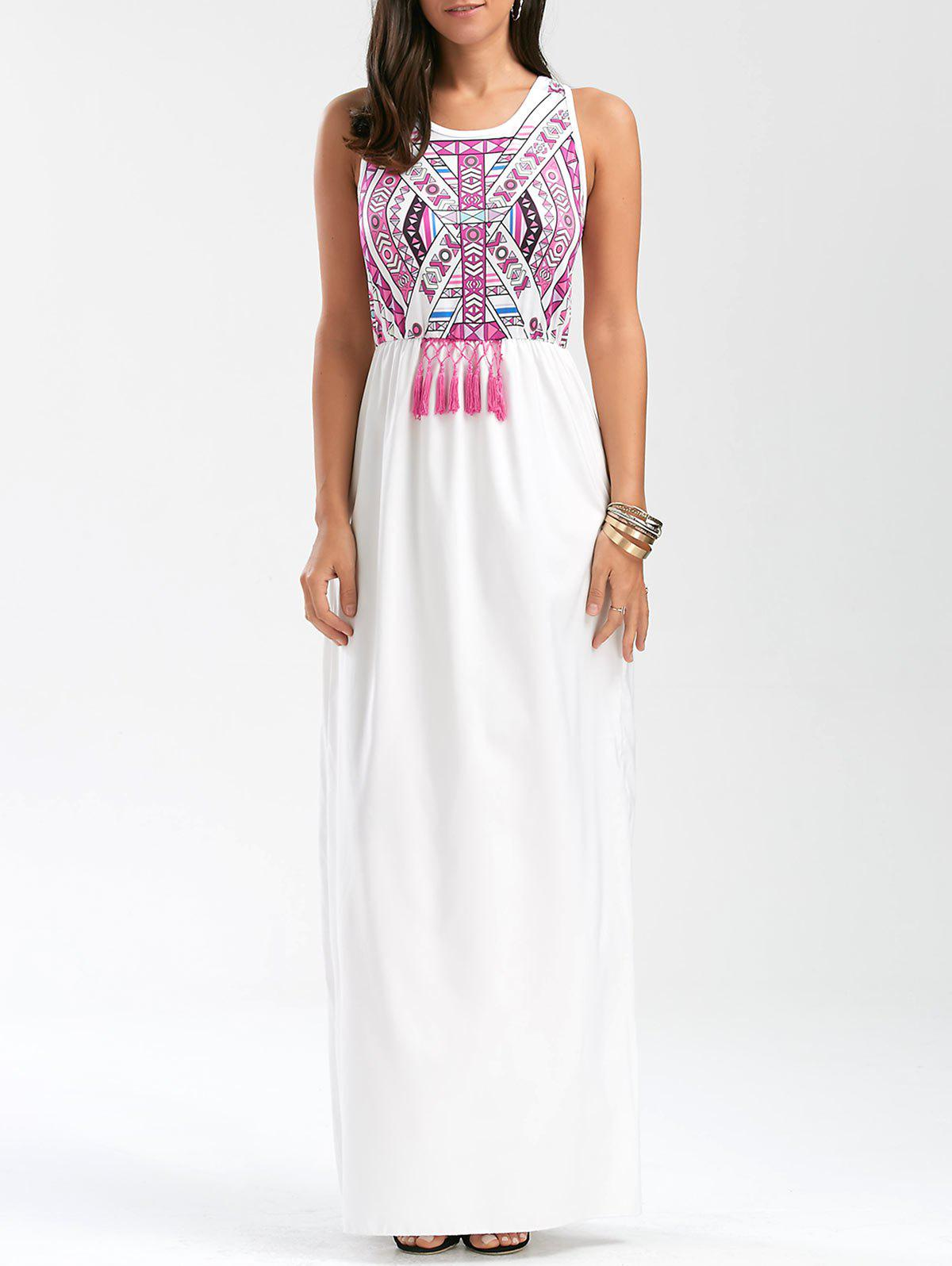 Outfit Tassel Totem Print Sleeveless Maxi Prom Dress