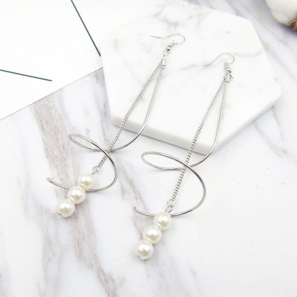 Artificial Pearl Long Chain Drop EarringsJEWELRY<br><br>Color: SILVER; Earring Type: Drop Earrings; Gender: For Women; Style: Trendy; Shape/Pattern: Others; Weight: 0.0400kg; Package Contents: 1 x Earring (Pair);