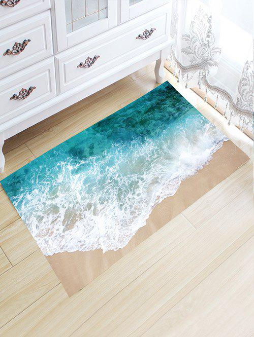 Sea Beach Print Flannel Skidproof Water Absorb CarpetHOME<br><br>Size: L80CM*W50CM; Color: COLORMIX; Products Type: Bath rugs; Materials: Flannel; Style: Chic/Modern; Shape: Rectangular; Package Contents: 1 x Carpet;