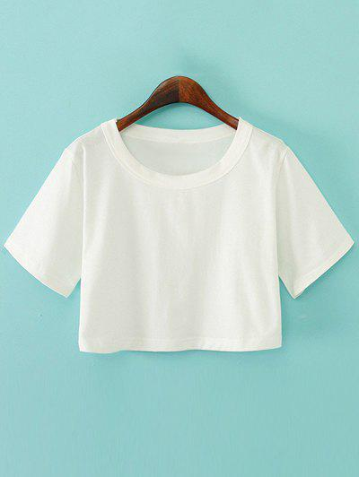 Fashion Round Neck Plain Boxy Jersey Crop Top Tee
