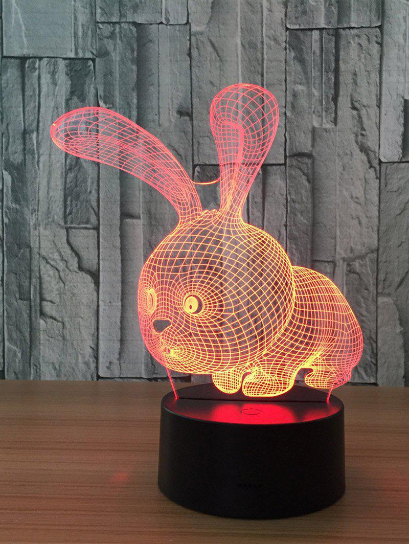 3D Visual Color Change Rabbit Shape Touch Night LightHOME<br><br>Color: TRANSPARENT; Products Type: Novelty Lighting; Materials: Acrylic,Plastic; Style: Trendy; Occasion: Brithday Party,Home,Mothers Day,Valentines Day; Voltage(V): 5V; Power (W): 3W; Weight: 0.5000kg; Package Contents: 1 x Night Light 1 x USB Cable;
