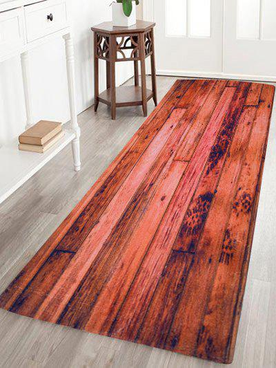 Coral Velvet Antislip Vintage Woodgrain Floor CarpetHOME<br><br>Size: W24 INCH * L71 INCH; Color: BROWN; Products Type: Bath rugs; Materials: Coral FLeece; Pattern: Print; Style: Vintage; Shape: Rectangle; Package Contents: 1 x Area Rug;