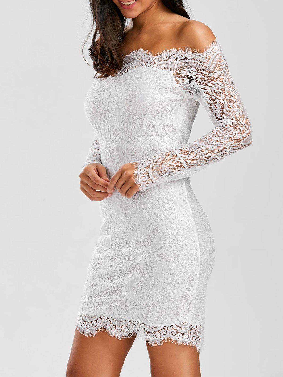 White One Size Off Shoulder Lace Cocktail Bridal Shower