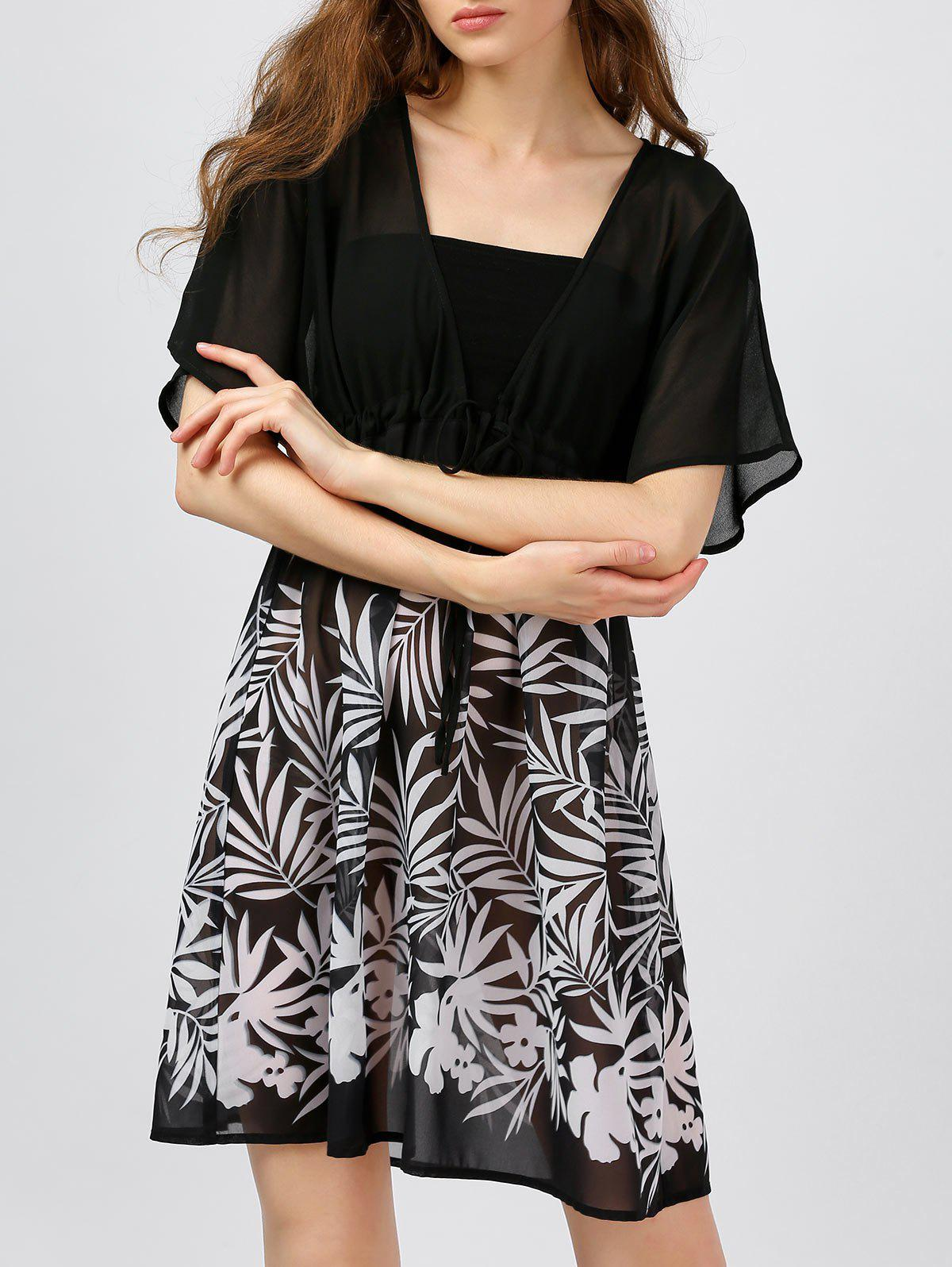 Store Leaf Printed Chiffon Sheer Short Dress