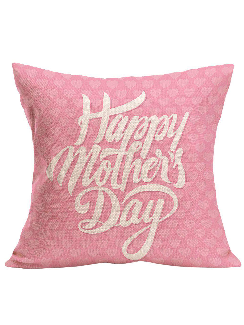 Happy Mothers Day Printed Pillow CaseHOME<br><br>Size: 43*43CM; Color: LIGHT PINK; Material: Polyester / Cotton; Fabric Type: Linen; Pattern: Letter; Style: Modern/Contemporary; Shape: Square; Size(CM): 43 x 43 CM; Weight: 0.1000kg; Package Contents: 1 x Pillow Case;