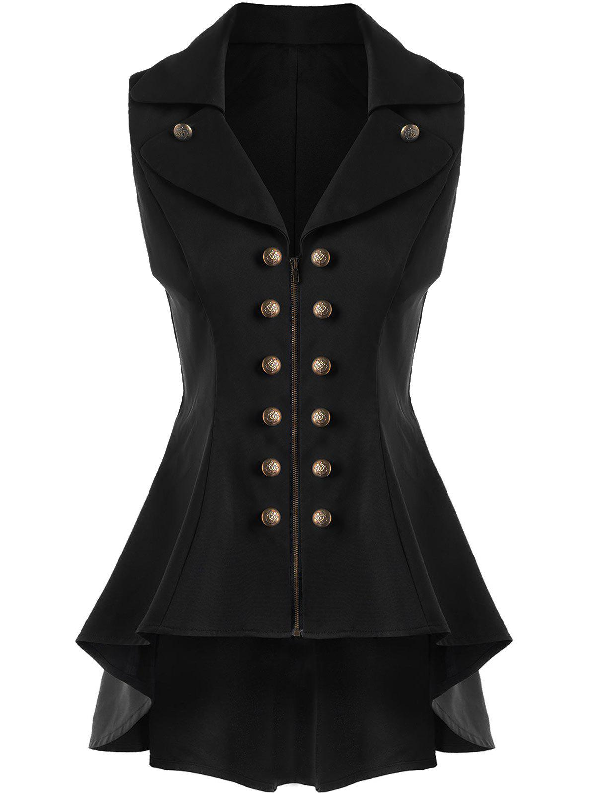 Double Breast High Low Lapel Dressy WaistcoatWOMEN<br><br>Size: 2XL; Color: BLACK; Material: Cotton,Cotton Blends,Polyester; Shirt Length: Long; Collar: Lapel; Closure Type: Zipper; Pattern Type: Solid; Thickness: Standard; Style: Fashion; Season: Spring,Summer; Embellishment: Button; Weight: 0.5500kg; Package Contents: 1 x Waistcoat;
