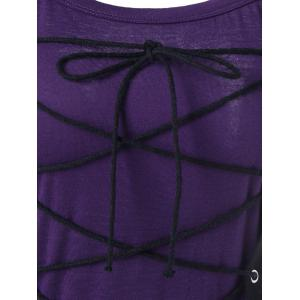 Spaghetti Strap Lace Up Bodice Club Dress - PURPLE XL