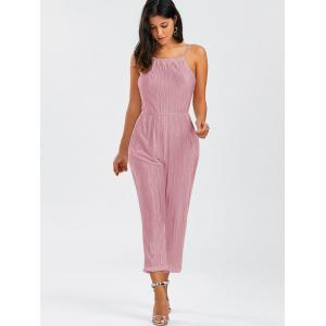 Open Back Pleated Cami Jumpsuit -