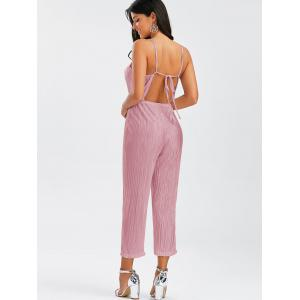 Open Back Pleated Cami Jumpsuit - PINK S