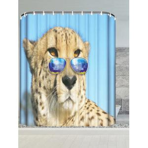 Wear Glasses Cheetah Water Resistant Shower Curtain - Sky Blue - W71 Inch * L71 Inch