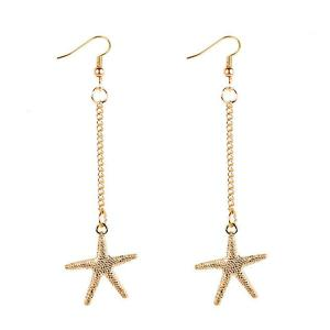 Starfish Drop Chain Earrings