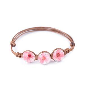 Adjustable Dry Flower Glass Ball Rope Bracelet