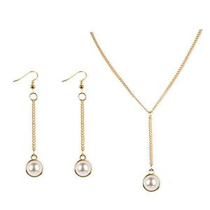 Artificial Pearl Y-Shaped Necklace and Earrings - Golden - M