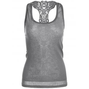 Sheer Lace Insert Racerback Tank Top - Gray - One Size