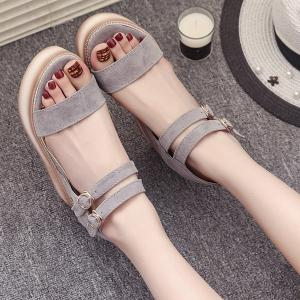Platform Double Buckle Strap Sandals - GRAY 38