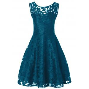 Lace Plus Size Vintage Party Short Cocktail Dress - Peacock Blue - Xl