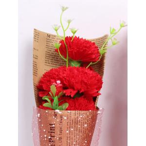 Creative Mother's Day Gift Carnation Soap 5PCS Artificial Flower - BRIGHT RED