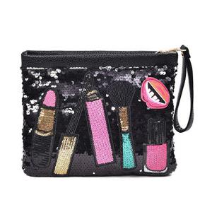 Cosmetic Pattern Sequin Clutch Bag