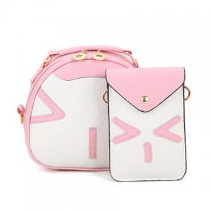 Color Block Handbag and Cellphone Bag - Pink