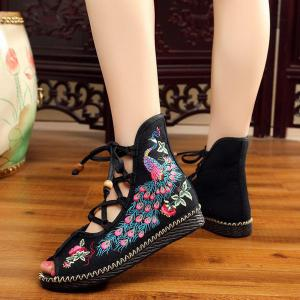 Lace Up Embroidery Peep Toe Shoes - BLACK 37