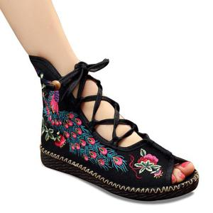 Lace Up Embroidery Peep Toe Shoes - Black - 40