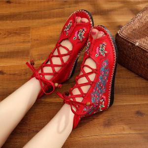 Lace Up Embroidery Peep Toe Shoes - RED 39