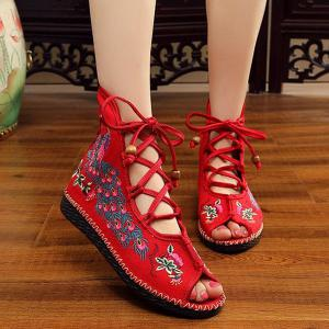 Lace Up Embroidery Peep Toe Shoes -