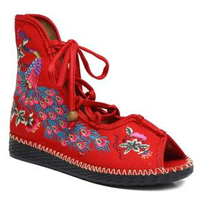 Lace Up Embroidery Peep Toe Shoes - Red - 38
