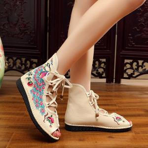 Lace Up Embroidery Peep Toe Shoes - OFF-WHITE 39