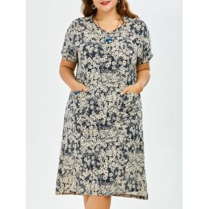 Tie Dye Plus Size V Neck Dress with Pockets