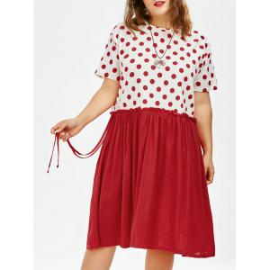 Plus Size Polka Dot Knee Length Trapeze Dress