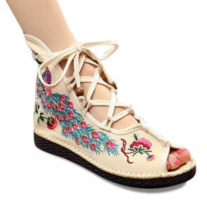 Lace Up Embroidery Peep Toe Shoes - Off-white - 37