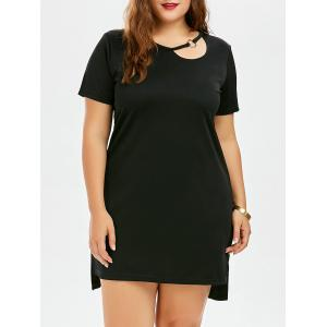 Plus Size Cutout Tee Cotton Dress With Metal Ring