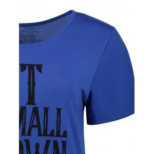 Short Sleeve Casual Graphic Tee - BLUE XL