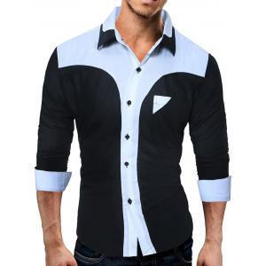 Long Sleeve Color Block Panel Slim Fit Shirt